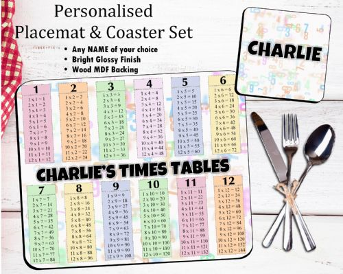 Personalised Kids Table Placemat & Coaster Set N42 -Times Table Design